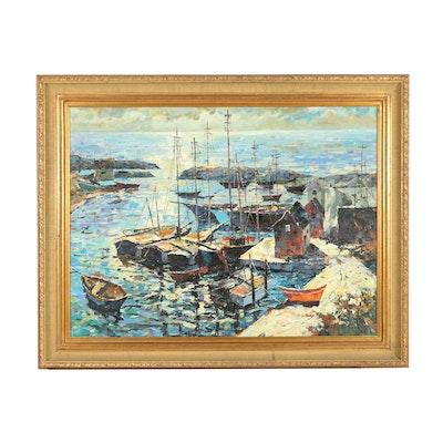 S. Sullivan Harbor Scene Oil Painting