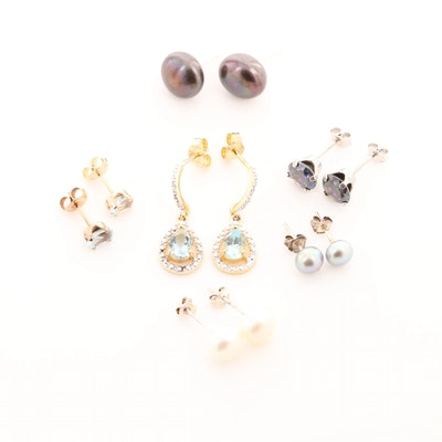 Sterling Silver Earring Assortment with Mixed Gemstones