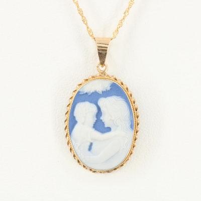 14K Yellow Gold Jasperware Pendant Necklace
