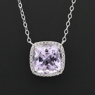Sterling Silver Amethyst and White Topaz Pendant Necklace