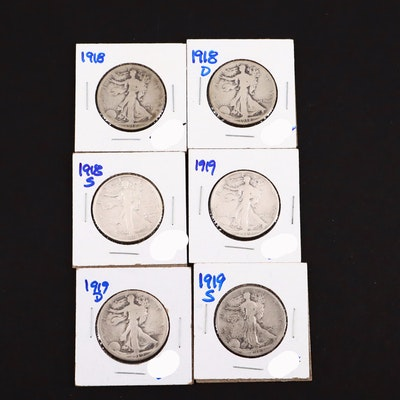 Six Walking Liberty Silver Half Dollars Including a 1918 and 1919-S
