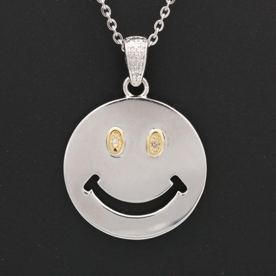Sterling Silver Diamond Happy Face Pendant Necklace With 14K Yellow Gold Accents