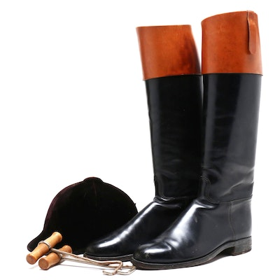 Miller Craft Leather Riding Boots with Boot Hooks and Jockey Hat, 1950s Vintage