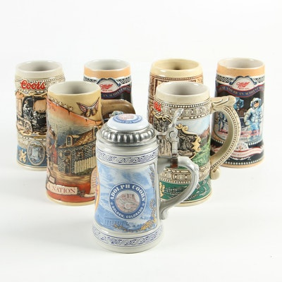Ceramic Beer Steins including Great American Achievements