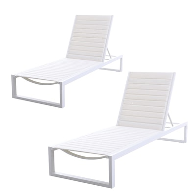 "Matthew Hilton for Case ""Eos"" Chaise Lounge Chairs in White"