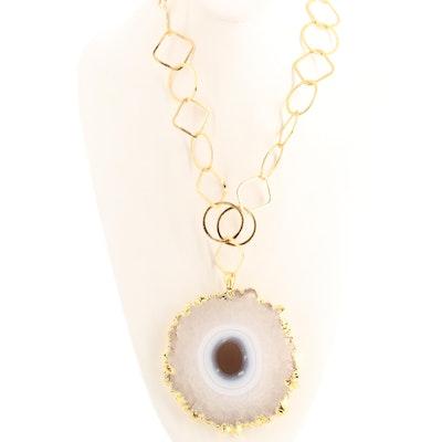 Quartz Agate Stalactite Slice Necklace