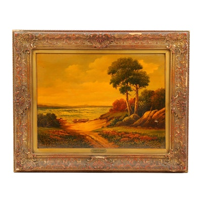 "James R. Drake Coastal Landscape Oil Painting ""The Boat Landing"""