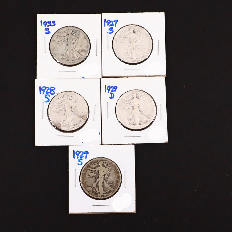 Five Walking Liberty Silver Half Dollars Including a 1927-S