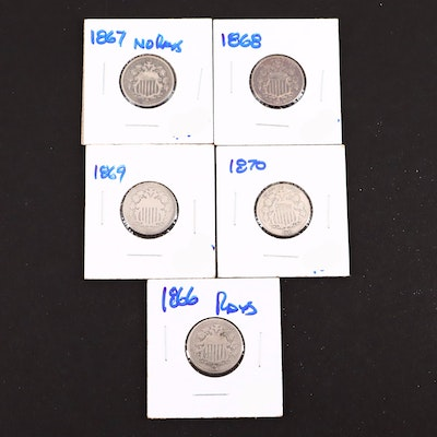 Five Shield NIckels Including Dates of 1866 and 1867 Without Rays