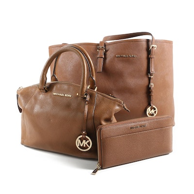 Michael Kors Brand Riley Satchel, Andy Tech Wallet and Jet Set Travel EW Tote