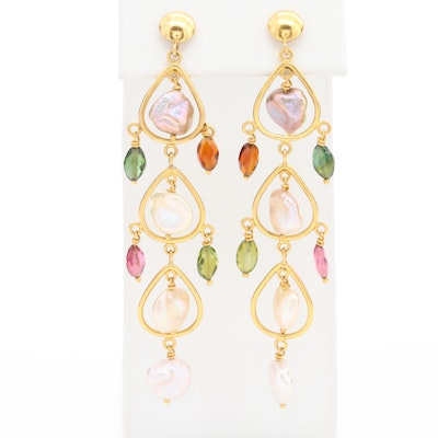 14K Yellow Gold Cultured Pearl, Citrine, Tourmaline and Peridot Dangle Earrings