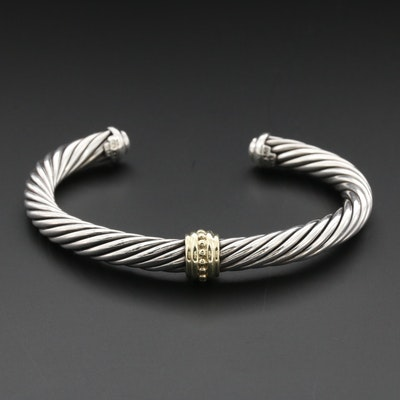 David Yurman Sterling Silver with 14K Yellow Gold Accents Cuff Bracelet