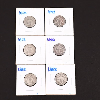 Six Shield Nickels Including Dates of 1872 and 1883