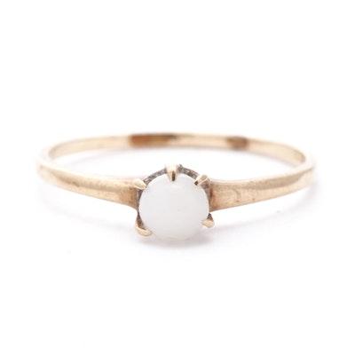 10K Yellow Gold Imitation Pearl Ring