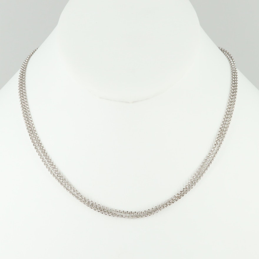 18K White Gold Triple-Stranded Rolo Chain Necklace