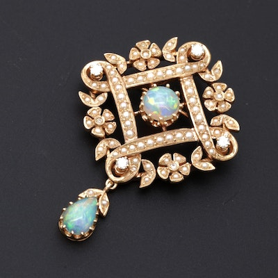 14K Yellow Gold Opal Diamond and Seeded Pearl Edwardian Style Brooch