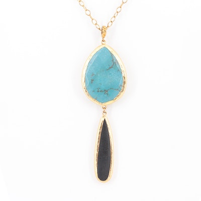 Contemporary Gold Wash on Sterling Silver, Magnesite and Glass Pendant Necklace