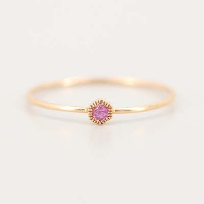 18K Yellow Gold Pink Sapphire Ring