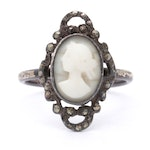 Sterling Silver Shell and Marcasite Ring