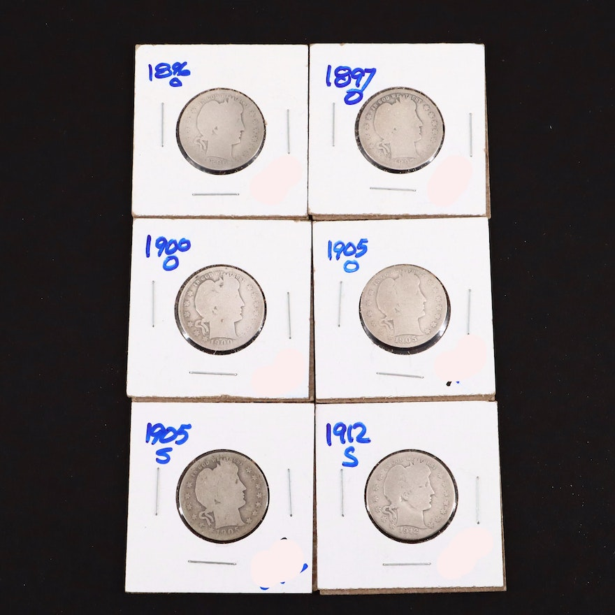 Six Barber Silver Quarters Including an 1896 and 1912-S