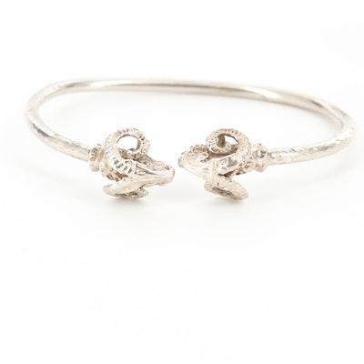 Sterling Silver Rams Head Bracelet