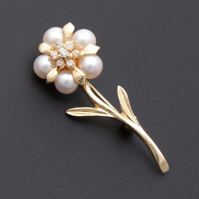 14K Gold, Diamond & Cultured Pearl Floral Brooch