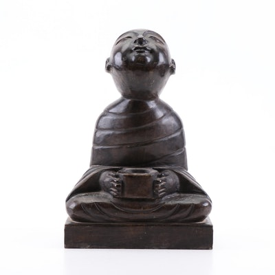 Chinese Carved Stone Sculpture of Sitting Monk