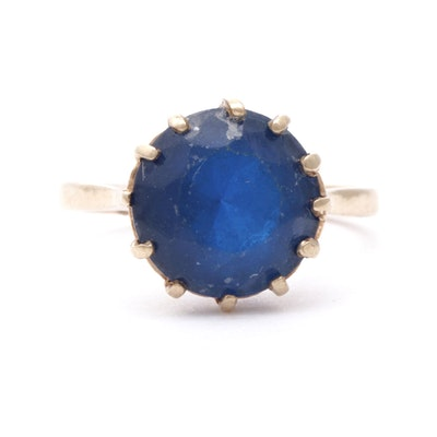 10K Yellow Gold and Synthetic Sapphire Ring