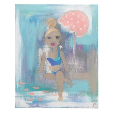 Sunbather Acrylic Painting
