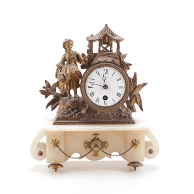 French Gilt Bronze and Alabaster Figural Clock, Late 19th to Early 20th Century