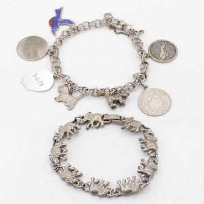 Sterling Silver Charm Bracelet with Plated Elephant Bracelet