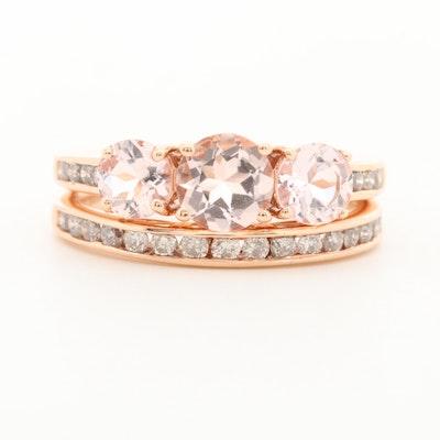 14K Rose Gold Morganite and Diamond Ring and Band