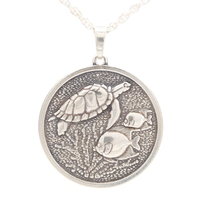 Kabana Sterling Silver Turtle Pendant Necklace