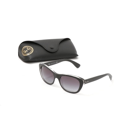 Ray-Ban RB4227 Black Modified Cat Eye Sunglasses with Case