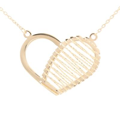 14K Yellow Gold Openwork Heart Pendant Necklace