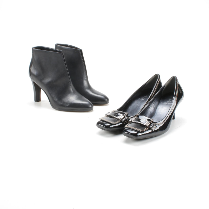 Cole Haan Black Patent Leather Pumps and Tahari Black Leather Booties