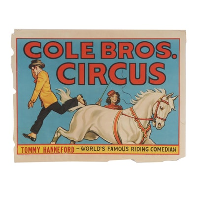 """Early 20th Century Lithograph """"Cole Bros. Circus"""""""