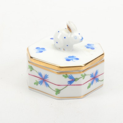 "Herend Hungary ""Blue Garland"" Porcelain Rabbit Trinket Box"
