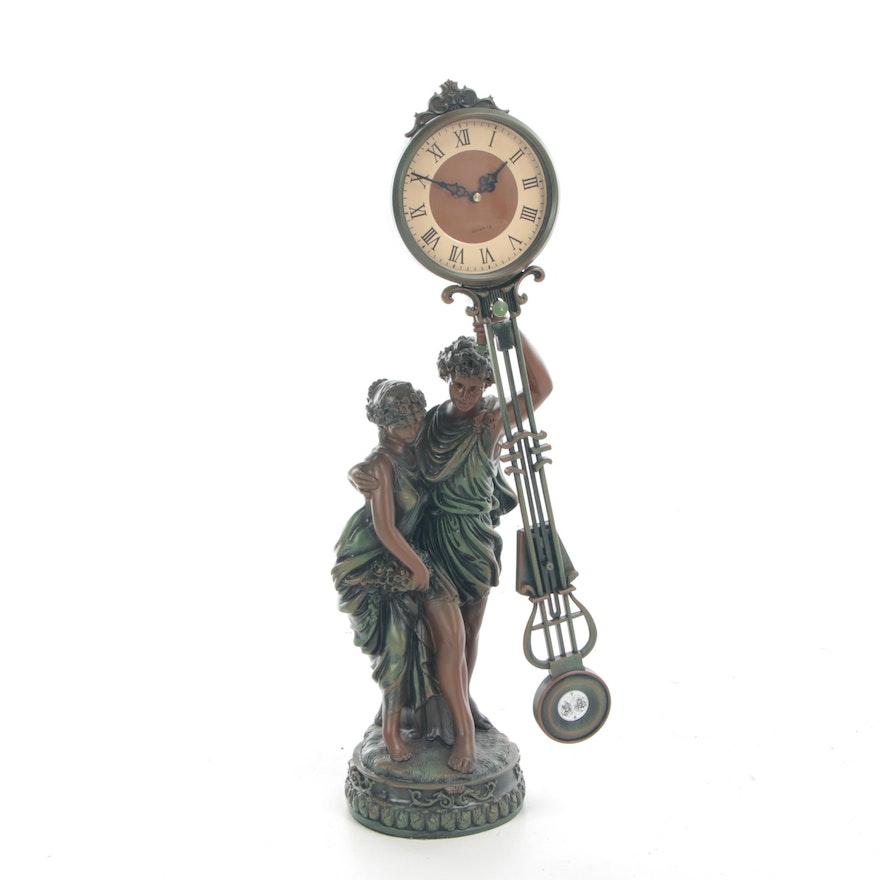 Roman Style Figural Quartz Mantel Clock