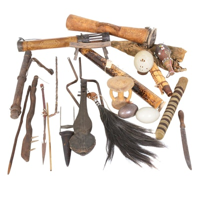 Ethnographic Collection Featuring Instruments and Eggs