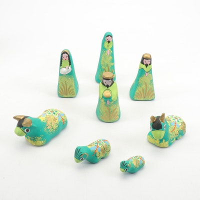 Mexican Hand-Painted Earthenware Nativity Scene Figurines