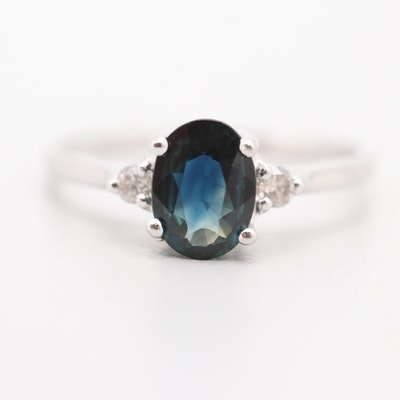 Platinum 1.02 CT Sapphire and Diamond Ring