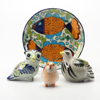 Mexican Hand-Painted Tonala and Jalisco Bird Figurines and Plate
