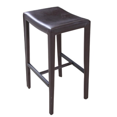 Modernist Bonded Leather Bar Stool, Contemporary