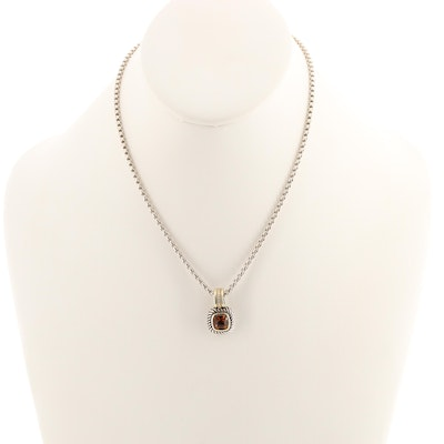 "David Yurman ""Albion Collection"" Sterling Silver Citrine Pendant Necklace"