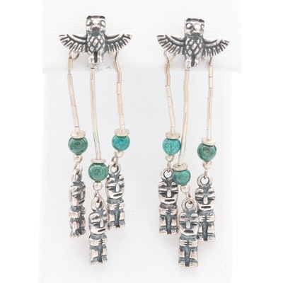 Kabana Sterling Silver Turquoise Chandelier Earrings