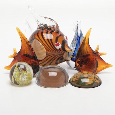 Hand Blown Art Glass Paperweights Featuring A. Jablonski