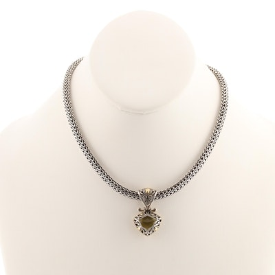 John Hardy Sterling Silver and 18K Yellow Gold Citrine Pendant Necklace