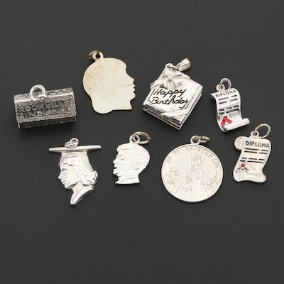 Sterling Silver Charms Including Wells and a JFK Charm with Enamel Accents