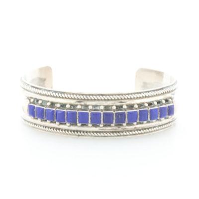Ernest and Vivnita Bewanika Zuni Sterling Silver Lapis Lazuli Cuff Bracelet